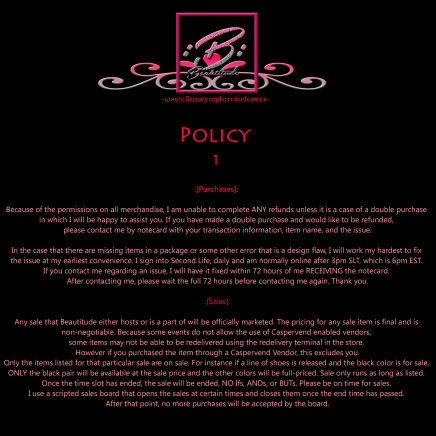 Beautitude Store Policy 1